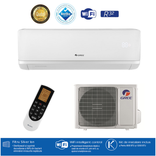 Aparat de aer conditionat Gree Bora A2 White GWH24AAD-K6DNA4A Inverter 24000 BTU R32. A++